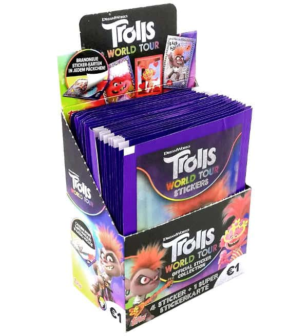 Topps Trolls World Tour Sticker - Display mit 30 Tüten
